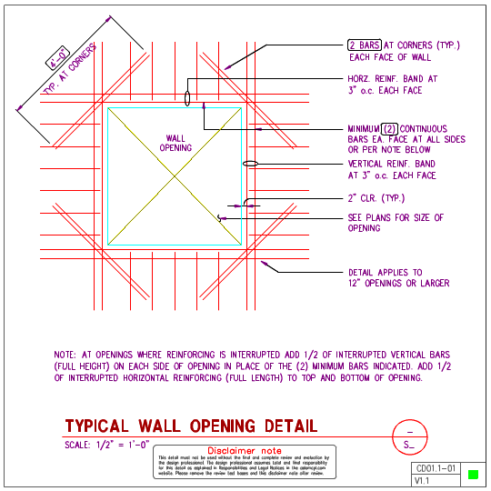 CD01.1   Concrete Wall Opening Details | AxiomCpl: Central Professional  Library