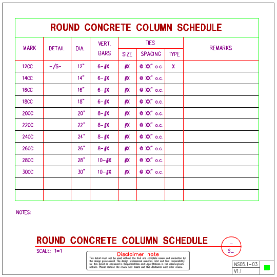 NS051 Concrete Column Schedules AxiomCpl Central