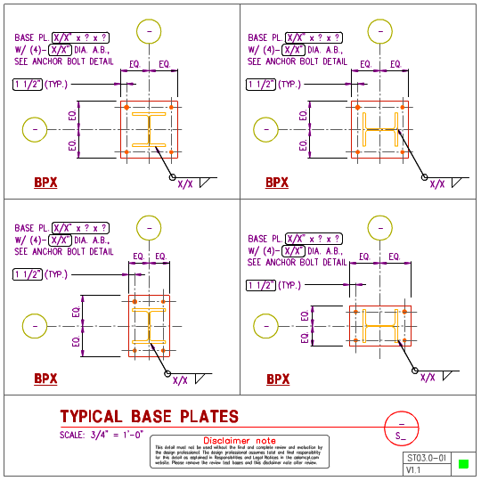 ST03 0 - Steel Base Plate Details WF Columns | AxiomCpl: Central