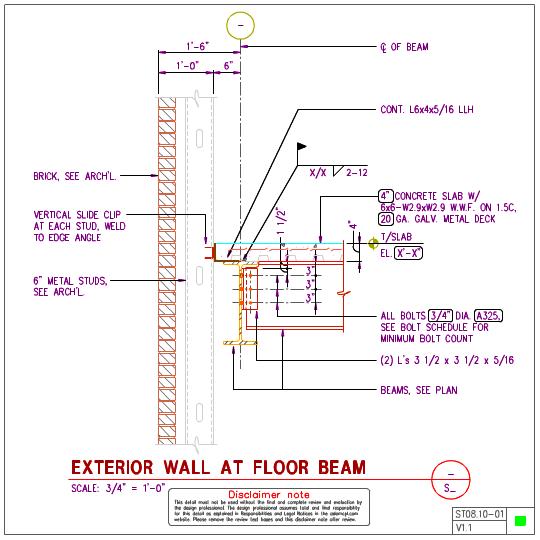 St steel floor with inch metal stud wall