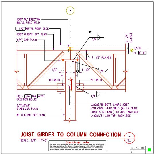 St17 0 Steel Joist Girder To Steel Wf Column Details
