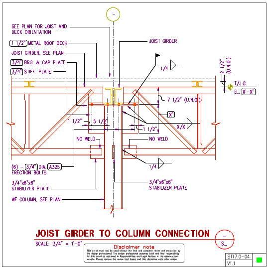 St17 0 Steel Joist Girder To Steel Wf Column Details