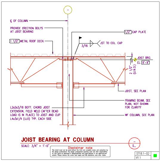 ST18 1 - Steel Joist To Steel WF Column Details | AxiomCpl: Central