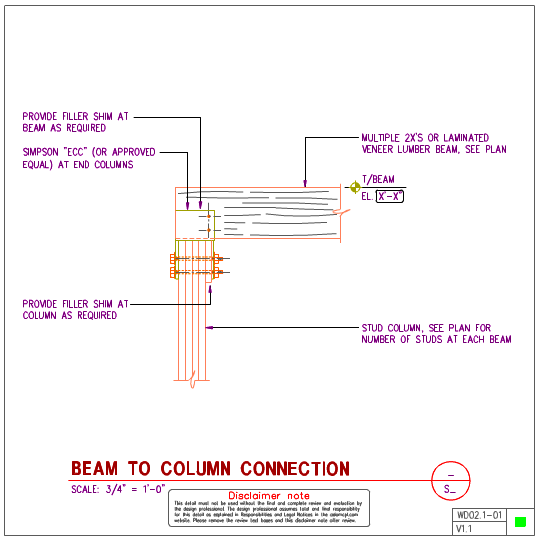 Wd02 1 Wood Beam To Wood Column Details Axiomcpl